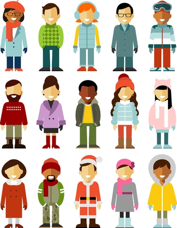 Different winter people smiling characters isolated on white background Vectores