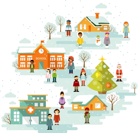 Town cityscape Christmas celebration background with people