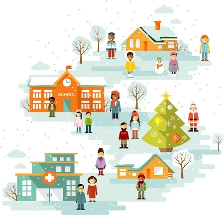 町都市景観の人々 とクリスマスのお祝いの背景