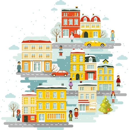 small town life: Town cityscape Christmas celebration background with people