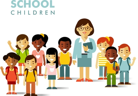 Multicultural school kids group and teacher isolated on white background Illustration