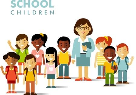 Multiculturele schoolkinderen groep en leraar op een witte achtergrond