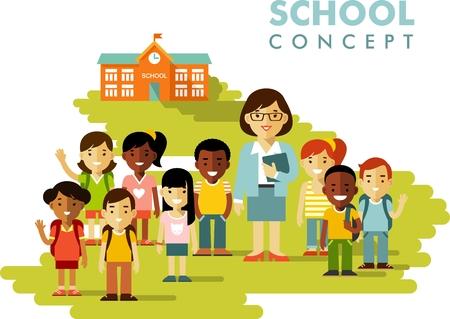 Multiculturele schoolkinderen groep en leraar op schoolgebouw achtergrond