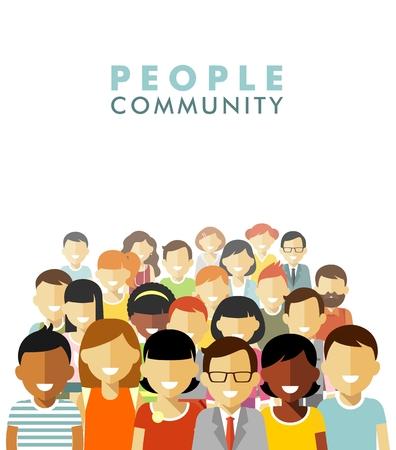 juntos: Grupo de pessoas diferentes na comunidade isolada no fundo branco