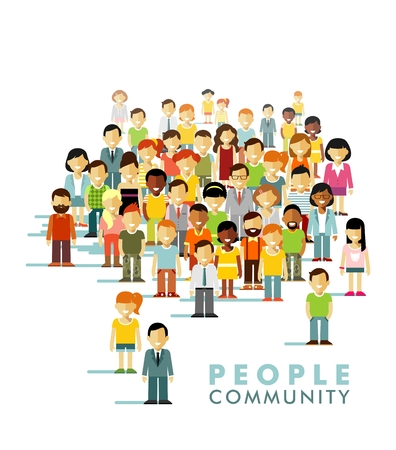 comunidad: Grupo de diversas personas en la comunidad aislada en el fondo blanco