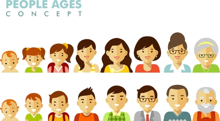 young adult: Man and woman aging icons - baby, child, teenager, young, adult, old