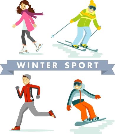 Menschen im Sport Winterurlaub - Skifahren, Schlittschuhlaufen, Snowboarden, Joggen Vektorgrafik