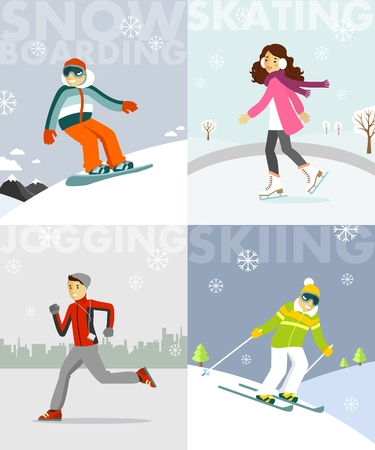 four people: People in sports winter vacation - skiing, skating, snowboarding, jogging on four multicolor banners