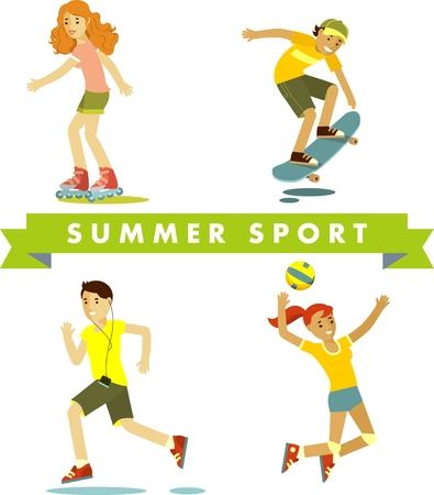 roller skating: People in sports summer vacation - volleyball, roller skating, skateboarding, jogging Stock Photo