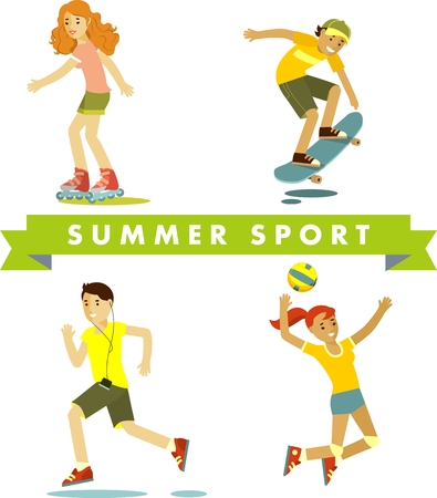 People in sports summer vacation - volleyball, roller skating, skateboarding, jogging Stock Photo