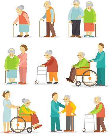 Elderly people in different situations with caregivers Stock Illustratie