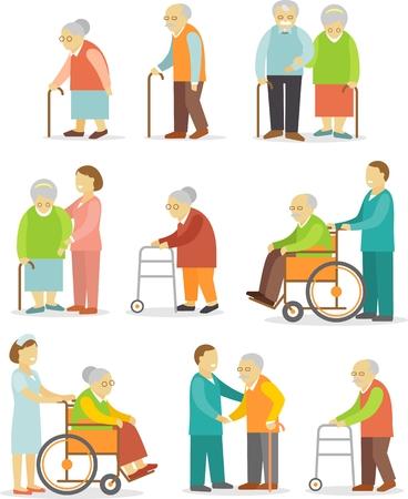 Ouderen in verschillende situaties met zorgverleners Stock Illustratie