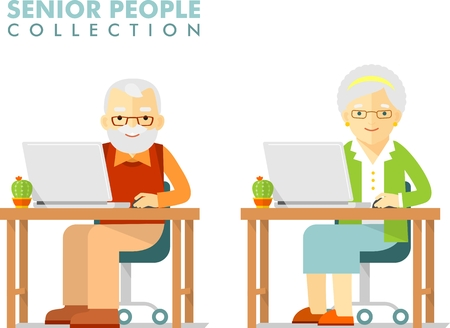 internet surfing: Senior man and woman sitting and networking with laptops Illustration