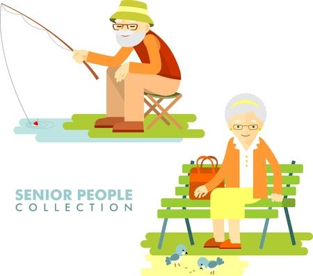 年配の男性が釣りとベンチと残りの部分に座っている年配の女性