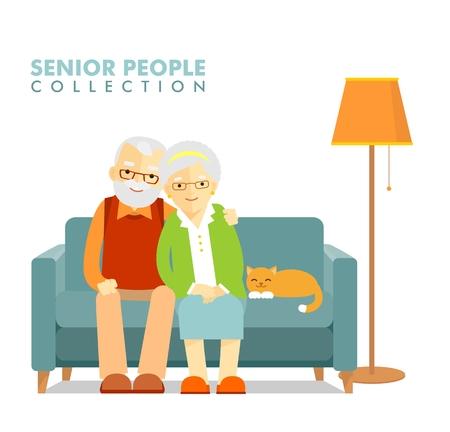 abuela: La familia feliz hombre mujer mayor que se sienta en el sof� y el descanso