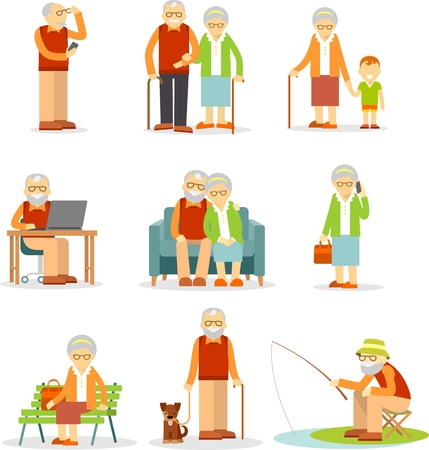 happy old age: Senior man and woman activities - walking, fishing, using mobile phone and computer