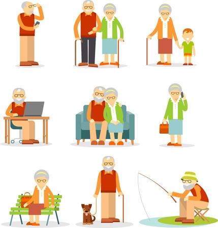Senior man en vrouw activiteiten - wandelen, vissen, met behulp van mobiele telefoon en computer