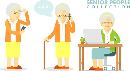 happy old age: Set of senior man with smartphone and laptop networking