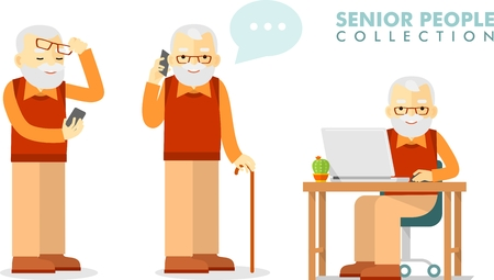 Set of senior man with smartphone and laptop networking