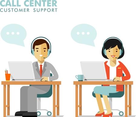 recepcionista: El hombre y la mujer sentada con los ordenadores portátiles y auriculares en centro de llamadas Vectores