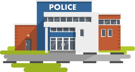 police: City police department building in flat style