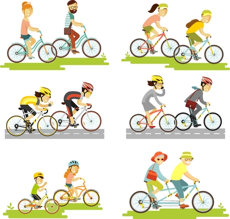 child couple: Cyclist man, woman, children, hipster, older, racing cyclist on bike and tandem