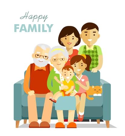Abuelo, abuela, hijo, hija, sentado en el sofá, la madre y el padre de pie