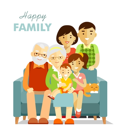 happy senior: Grandfather, grandmother, son, daughter sitting on the sofa, mother and father standing Illustration