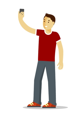 telephone icons: Young man standing and make a self portrait with mobile phone camera Illustration