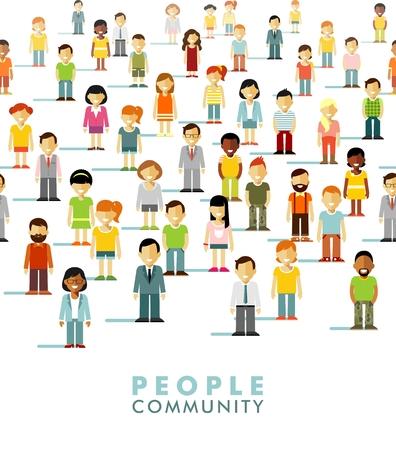 poblacion: Grupo de diversas personas en la comunidad aislada en el fondo blanco