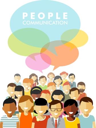 la société: Groupe de personnes différentes dans la discussion communautaire isolé sur fond blanc