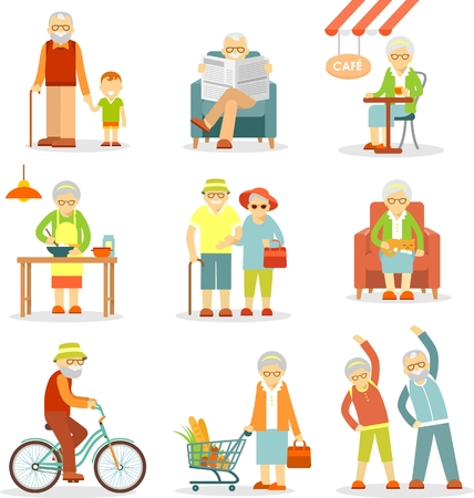 old people: Senior man and woman activities - walking, cooking, shopping, cycling, recreation