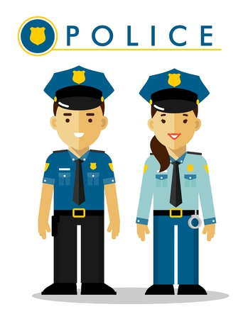 Policeman and policewoman officer standing on white background in flat style Vettoriali