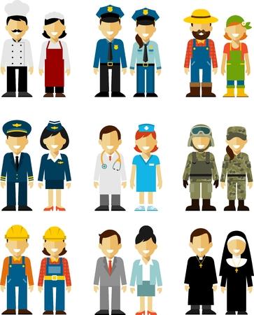 cartoon soldat: Unterschiedliche Menschen Berufe Zeichen isoliert auf weißem Hintergrund Illustration