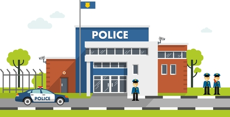 police cartoon: City police department building in landscape with policeman and police car in flat style