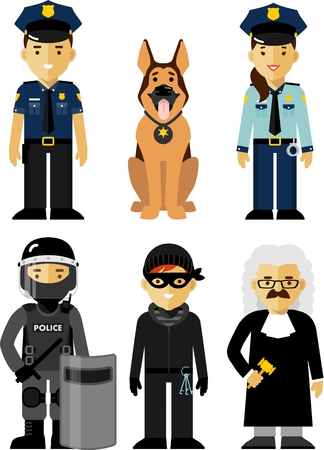 uniforms: Policeman, policewoman, judge, Special Forces soldier, criminal and police dog standing on white background in flat style