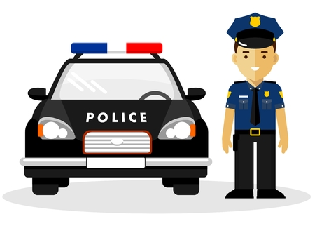 Policeman officer on city background with police car in flat style