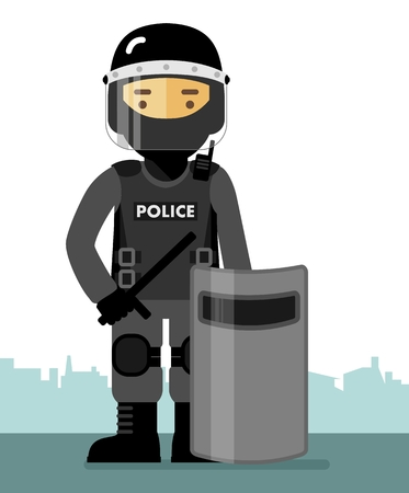 Police riot standing with shield and baton isolated on white background in flat style