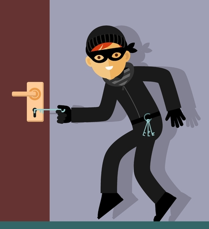 door lock: Thief in mask trying to open the door lock in home Illustration