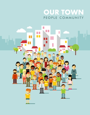 Group of different people in community on town background Ilustracja