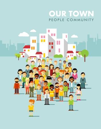 persone: Gruppo di persone diverse in comunità su sfondo città