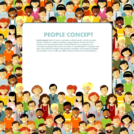 crowd of people: Group of different people in community and banner with empty space for your text