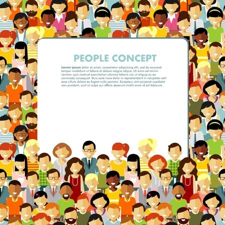 sociedade: Grupo de pessoas diferentes em comunidade e da bandeira com espa