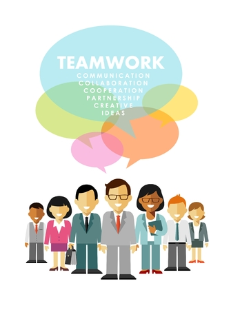 gente trabajando: Grupo de diversos hombres de negocios en la discusión de la comunidad aislada en el fondo blanco