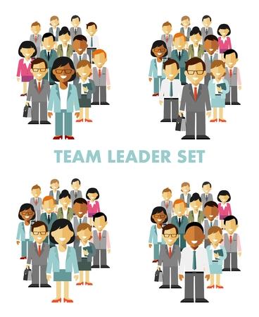 sociedade: Grupo de executivos diferentes em comunidade isolada no fundo branco Ilustração