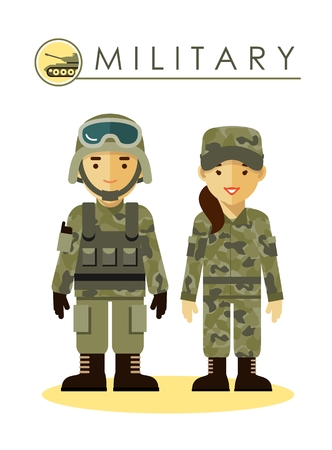 military helmet: Soldier man and woman in camouflage uniform isolated on white background in flat style