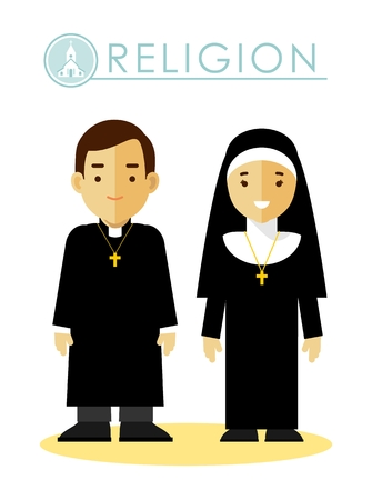 흰색 배경에 고립 된 플랫 스타일의 제복을 입은 가톨릭 기독교 사제와 수녀