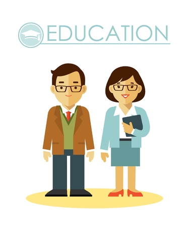 enseñanza: el hombre y la mujer del profesor en el estilo plano aislado en el fondo blanco