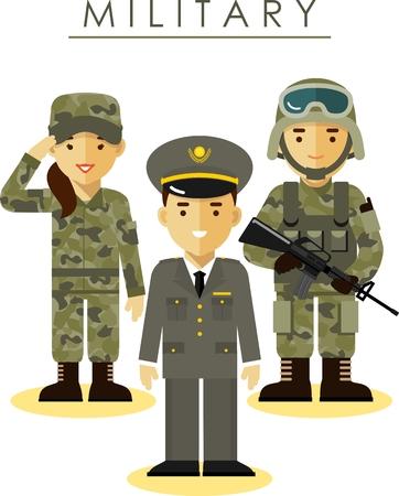 Soldado y oficial de hombre y mujer con uniforme de camuflaje en estilo plano Ilustración de vector