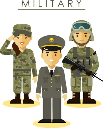 military helmet: Soldier and officer man and woman in camouflage uniform in flat style Illustration